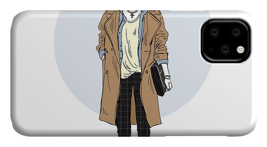Fancy IPhone Case featuring the digital art Cat Girl Dressed Up In Casual Urban by Olga angelloz