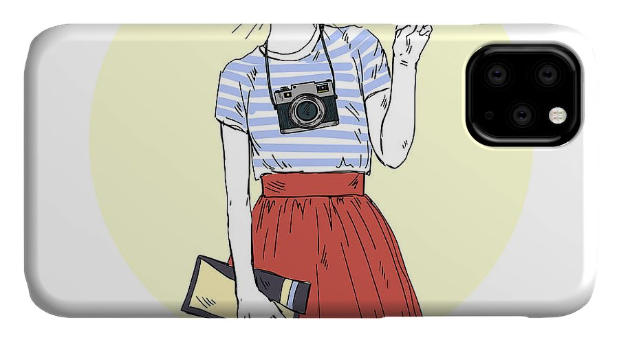 Fancy IPhone Case featuring the digital art Cat Girl Hipster With Photo Camera by Olga angelloz