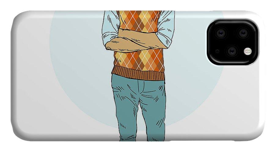 Fancy IPhone Case featuring the digital art Cat Nerdy Hipster, Furry Art by Olga angelloz