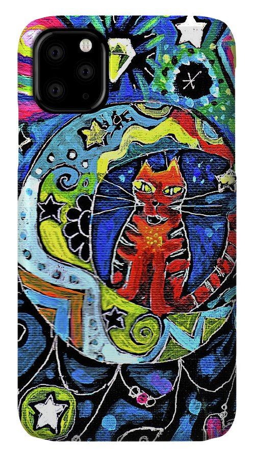Cat IPhone Case featuring the painting Cat On A Crescent Moon With Diamonds by Genevieve Esson