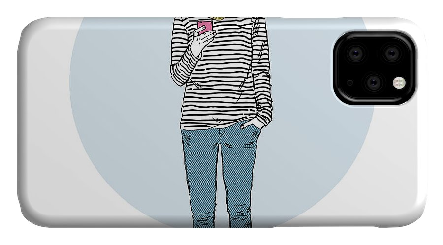 Fancy IPhone Case featuring the digital art Cat Teen Girl In Stripy Top With by Olga angelloz