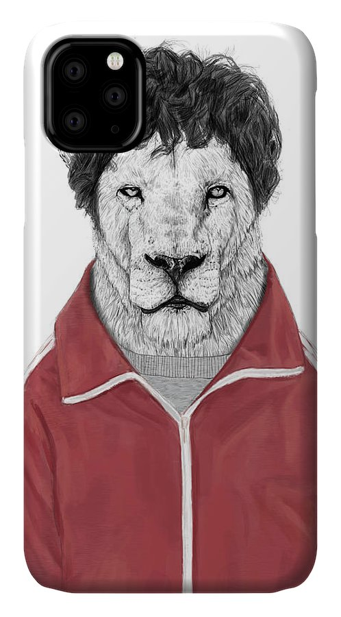 Lion IPhone 11 Case featuring the drawing Chas by Balazs Solti