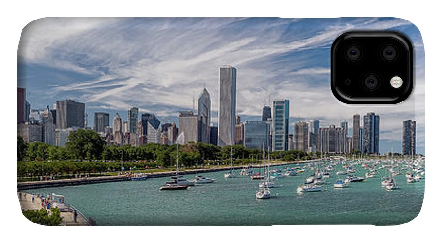 3scape IPhone Case featuring the photograph Chicago Skyline Daytime Panoramic by Adam Romanowicz