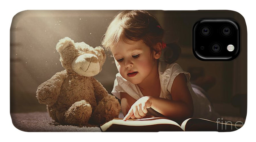 Magic IPhone Case featuring the photograph Child Little Girl Reading A Magic Book by Evgeny Atamanenko