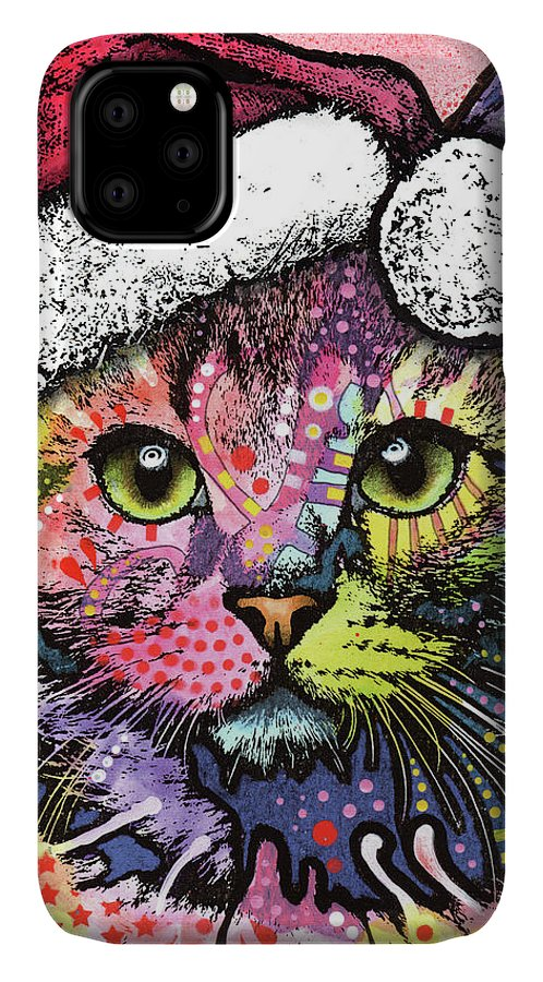 Christmas Cat IPhone Case featuring the mixed media Christmas Cat by Dean Russo
