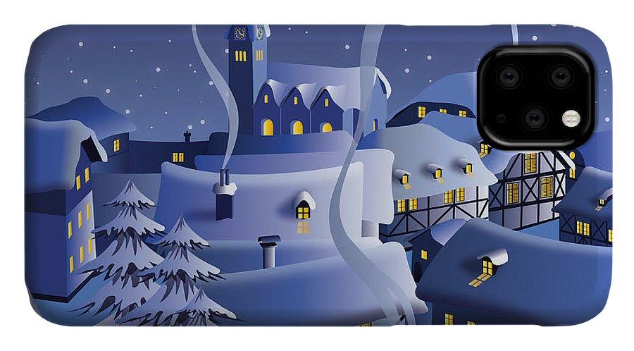 Door IPhone 11 Case featuring the digital art Christmas Night by Nikola Knezevic