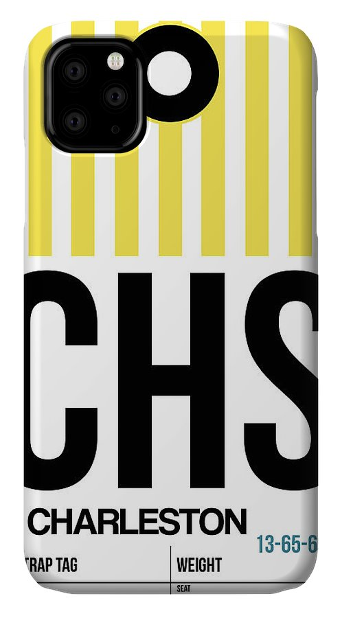 Vacation IPhone 11 Case featuring the digital art Chs Charleston Luggage Tag II by Naxart Studio