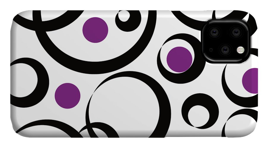 Circle IPhone 11 Case featuring the digital art circle pattern Black and Purpur by Patricia Piotrak