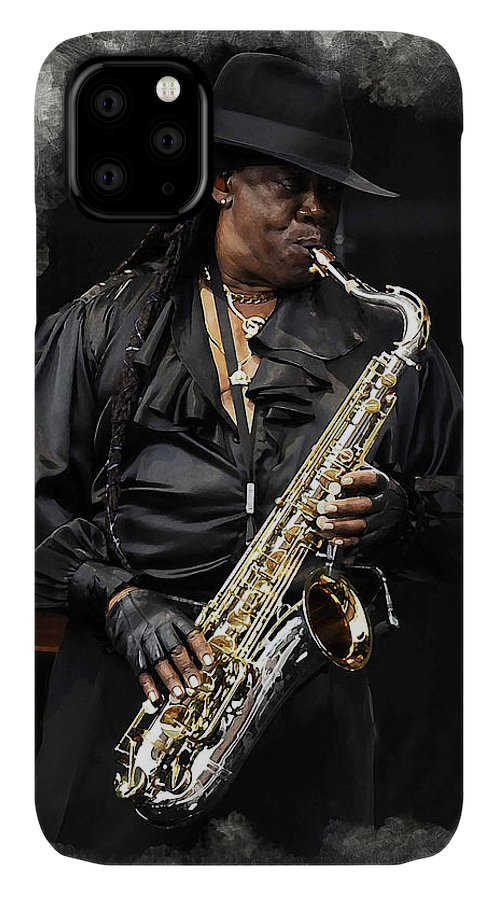 Clarence Clemons IPhone Case featuring the digital art Clarence Clemons by Karl Knox