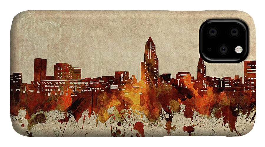 Cleveland IPhone Case featuring the digital art Cleveland Skyline Sepia by Bekim M