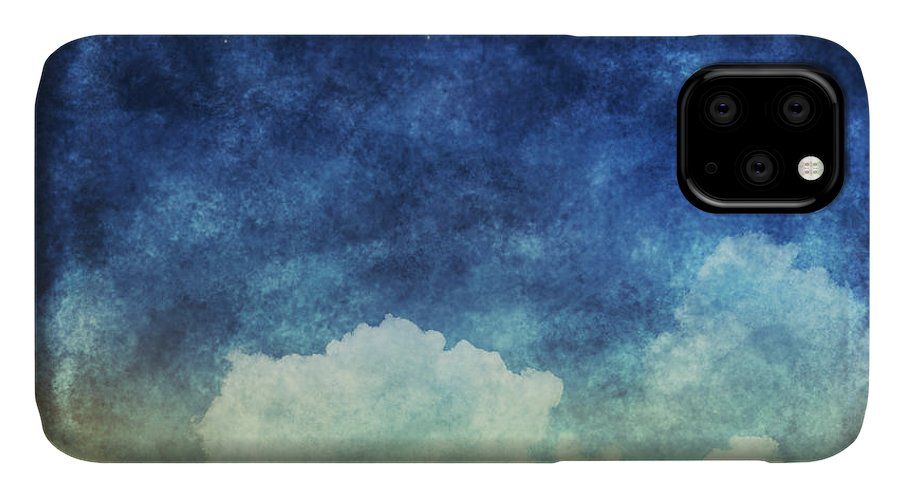 Craft IPhone 11 Case featuring the digital art Cloud And Sky At Night ,yellow And Blue by Mr.lightman1975