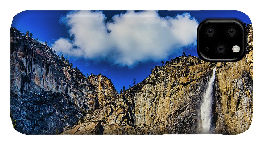 Upper IPhone 11 Case featuring the photograph Clouds Abover Upper Yosemite Fall by Garry Gay