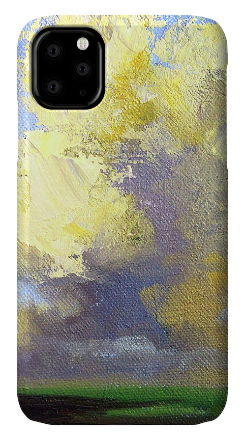 Cloudy Day IPhone Case featuring the painting Cloudy Day by Nancy Merkle