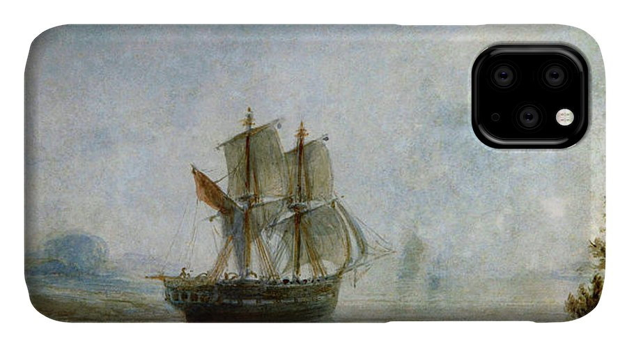 Prilidiano Pueyrredon IPhone 11 Case featuring the painting Coast Landscape With Sailboats by Prilidiano Pueyrredon
