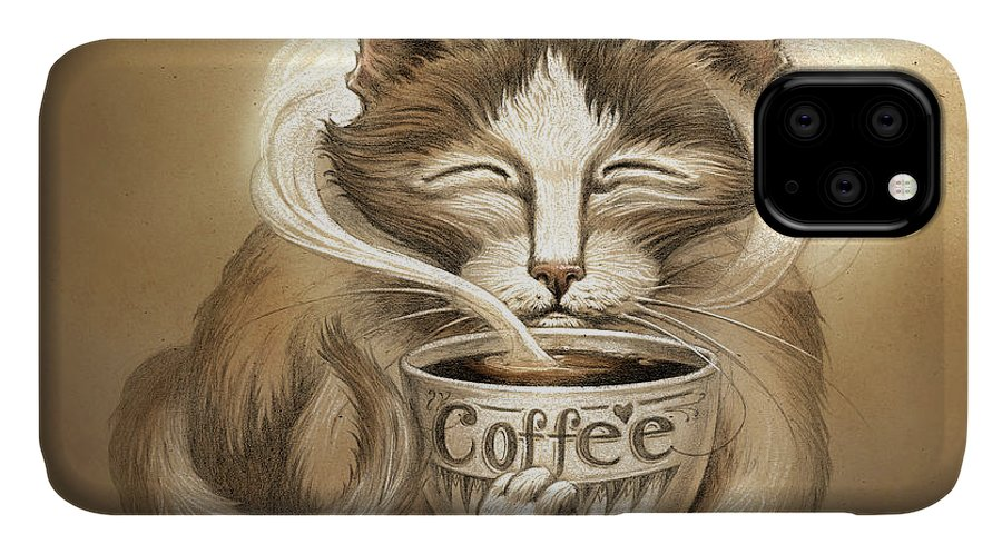 Coffee Cat IPhone Case featuring the painting Coffee Cat by Jeff Haynie