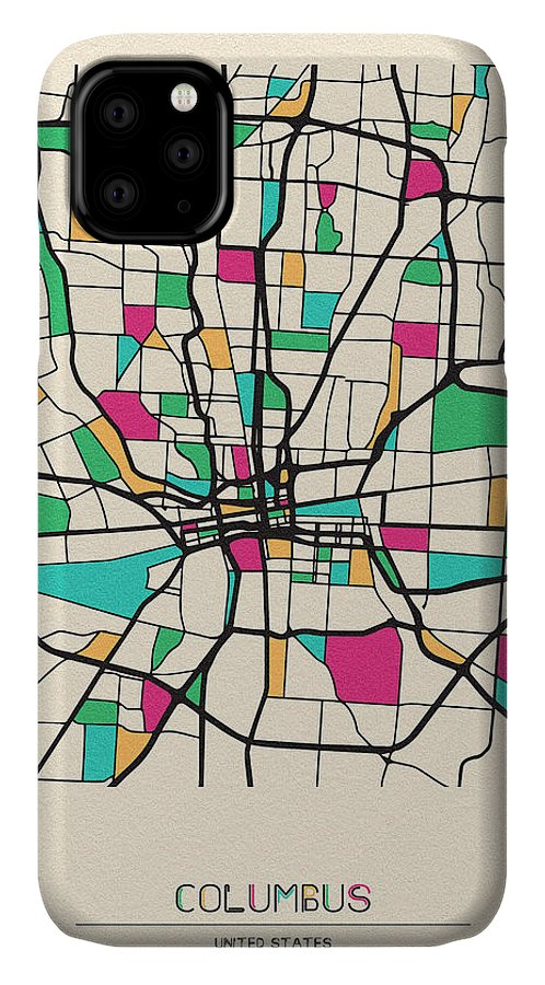 Columbus IPhone Case featuring the drawing Columbus, Ohio City Map by Inspirowl Design