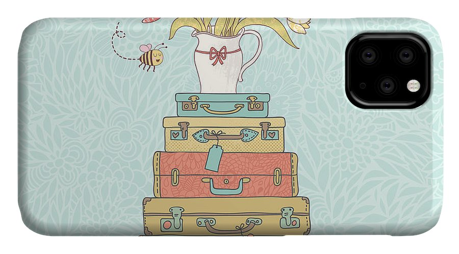 Symbol IPhone Case featuring the digital art Concept Cartoon Card In Vector. Cases by Smilewithjul