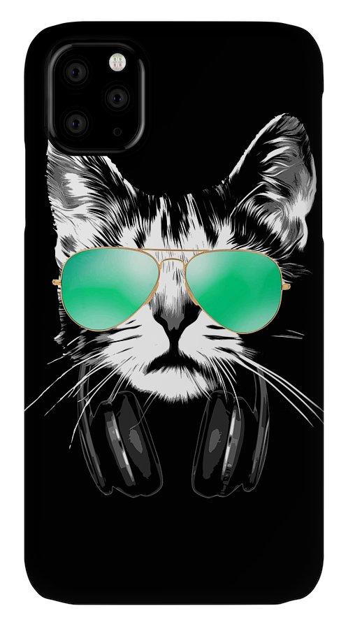 Cat IPhone Case featuring the digital art Cool DJ Cat by Filip Schpindel