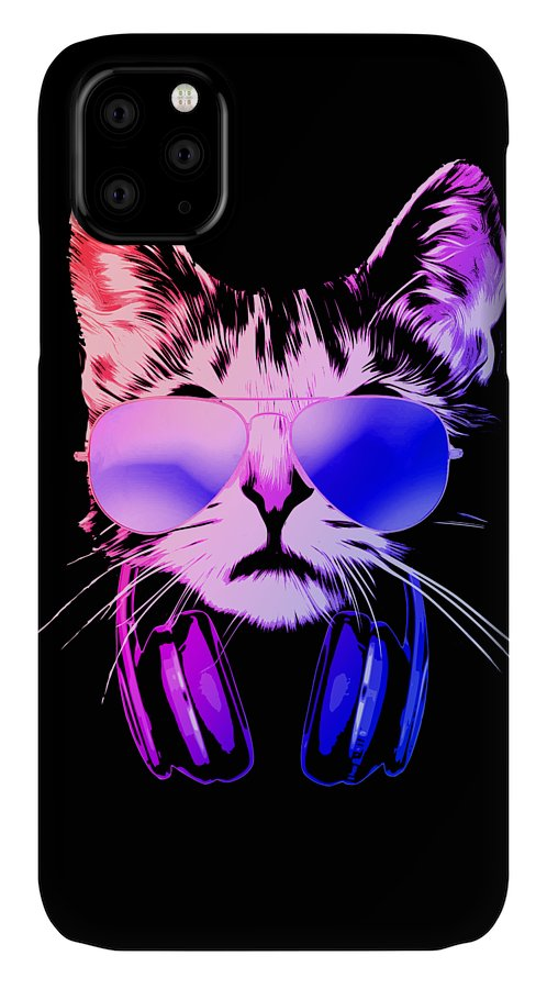 Cat IPhone Case featuring the digital art Cool DJ Cat In Neon Lights by Filip Schpindel