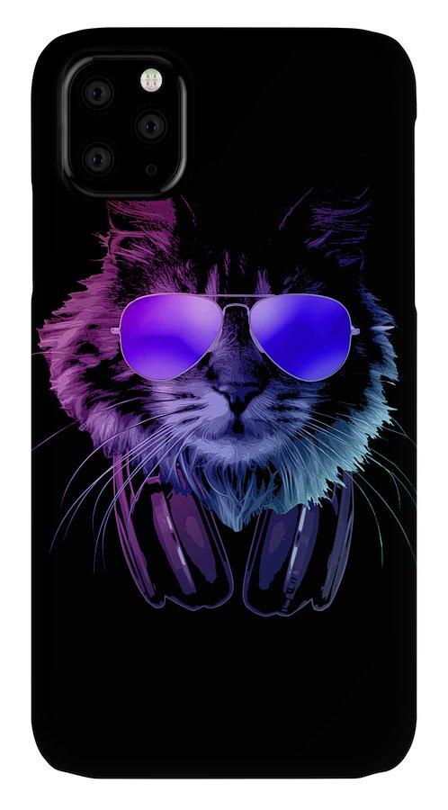 Cat IPhone Case featuring the digital art Cool DJ Furry Cat In Neon Lights by Filip Schpindel