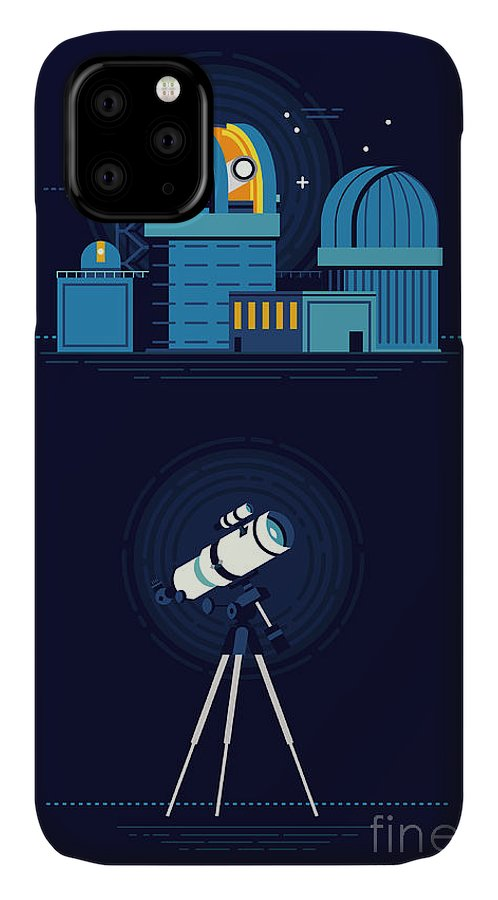 Big IPhone 11 Case featuring the digital art Cool Vector Modern Observatory At Night by Mascha Tace