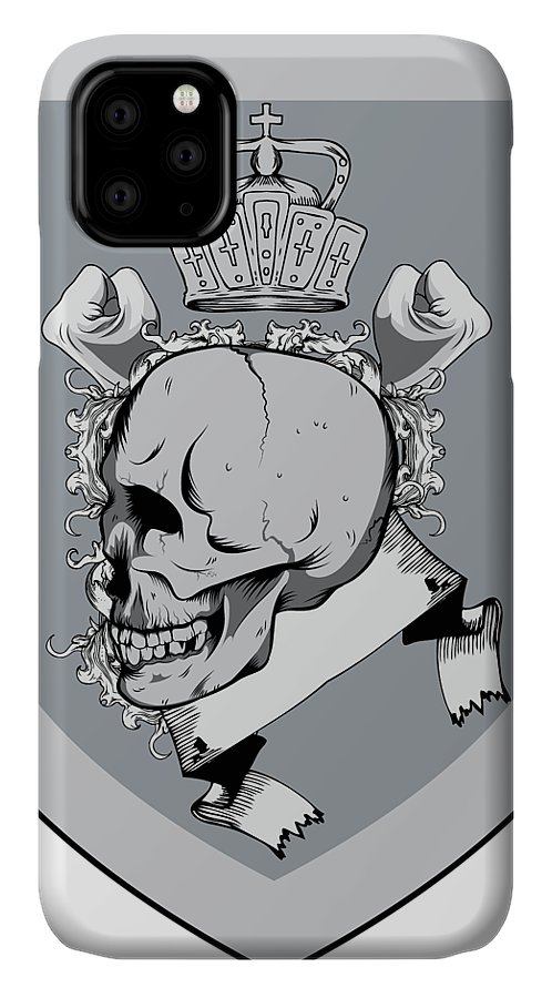 Halloween IPhone Case featuring the digital art Crowned Skull by Passion Loft