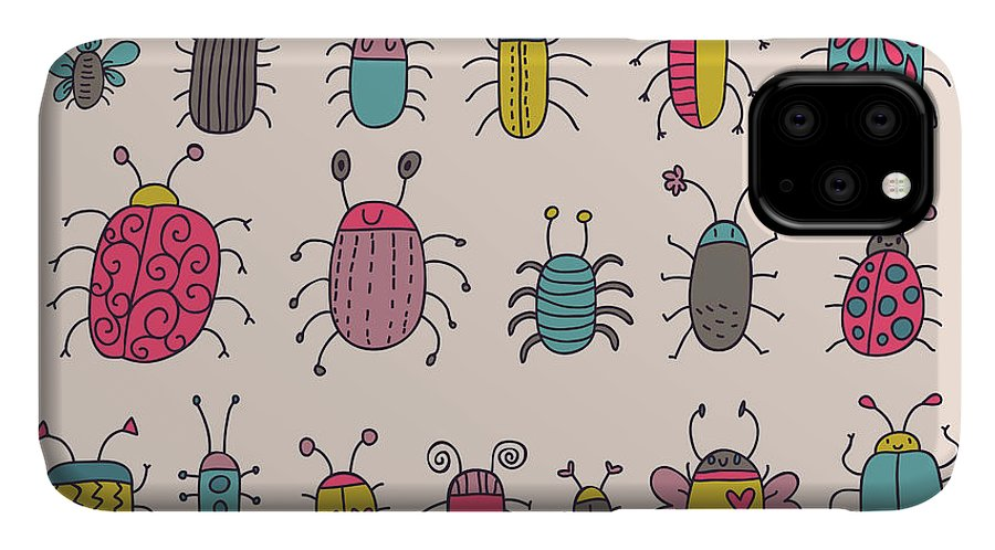 Antenna IPhone Case featuring the digital art Cute Bugs. Cartoon Insects In Vector Set by Smilewithjul