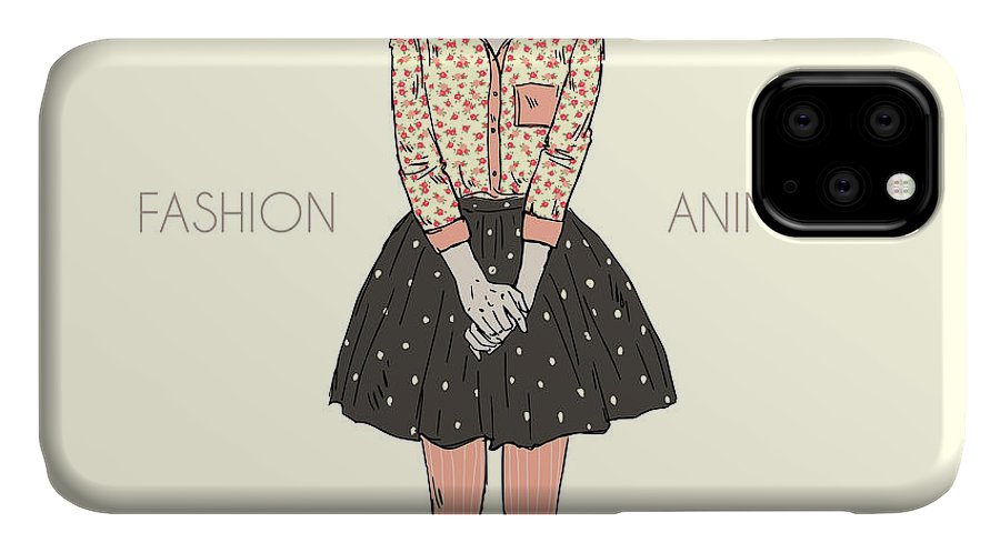 Fancy IPhone Case featuring the digital art Cute Scottish Fold Cat Girl Hipster by Olga angelloz