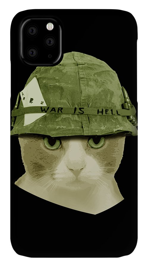 Cat IPhone Case featuring the digital art Cute War Is Hell Army Cat by Filip Schpindel