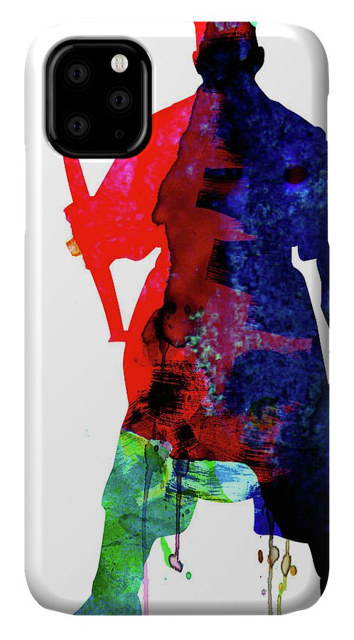 D Maul IPhone 11 Case featuring the mixed media D Maul Watercolor 1 by Naxart Studio