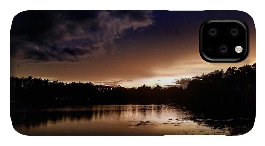 Sunset IPhone 11 Case featuring the photograph Dark Reflections by Shena Sanders