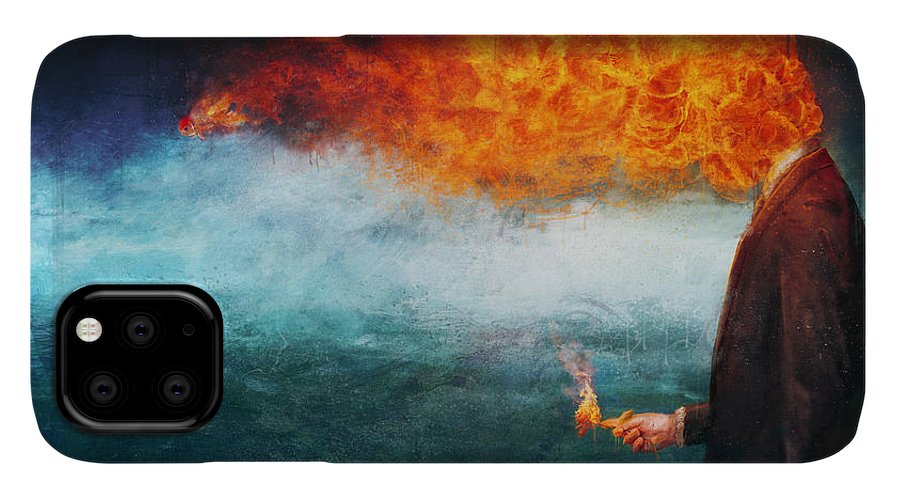 Fire IPhone 11 Case featuring the painting Deep by Mario Sanchez Nevado