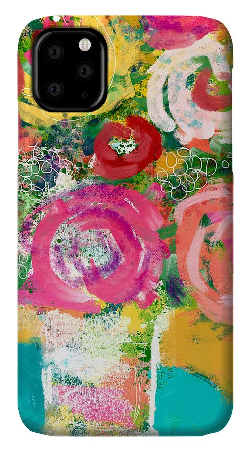 Flowers IPhone 11 Case featuring the mixed media Delightful Bouquet 4- Art By Linda Woods by Linda Woods