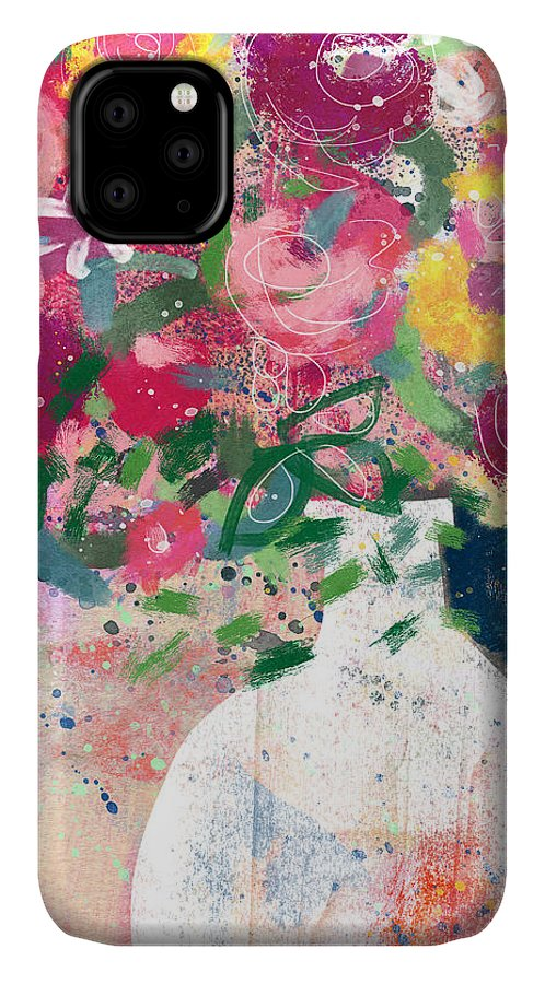 Floral IPhone Case featuring the mixed media Delightful Bouquet- Art By Linda Woods by Linda Woods