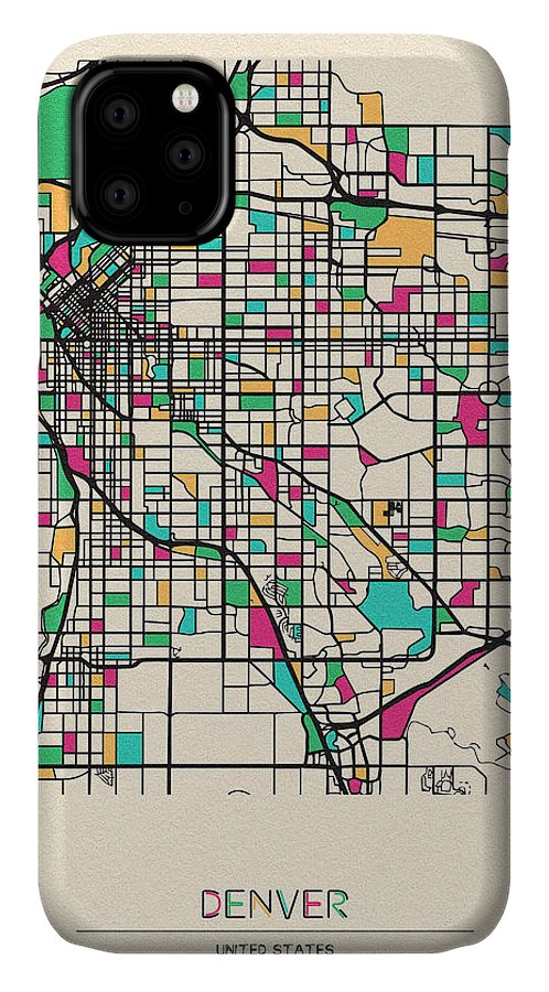 Denver IPhone Case featuring the drawing Denver, Colorado City Map by Inspirowl Design