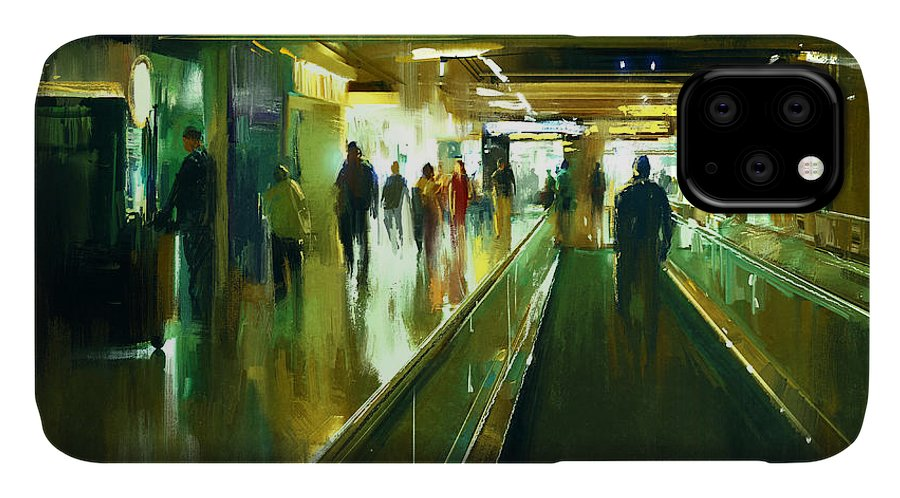 City IPhone Case featuring the digital art Digital Painting Of People Walking In by Tithi Luadthong