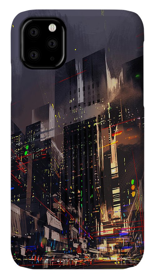 Fi IPhone 11 Case featuring the digital art Digital Painting Of The Light Trails In by Tithi Luadthong