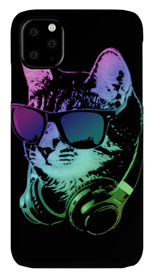 Cat IPhone Case featuring the digital art Dj Cat In Neon Lights by Filip Schpindel