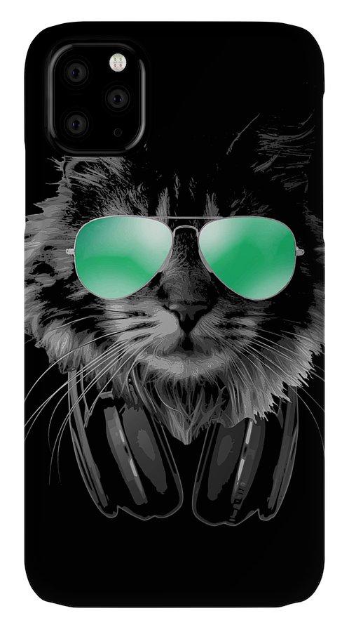 Cat IPhone Case featuring the digital art Dj Furry Cat by Filip Schpindel