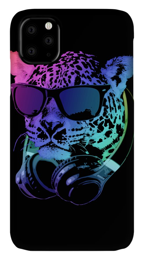 Leopard IPhone Case featuring the digital art DJ Leopard by Filip Schpindel