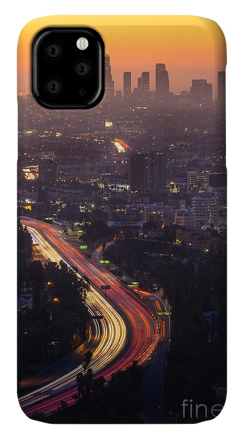 Freeway IPhone Case featuring the photograph Downtown Los Angeles Skyline by F11photo