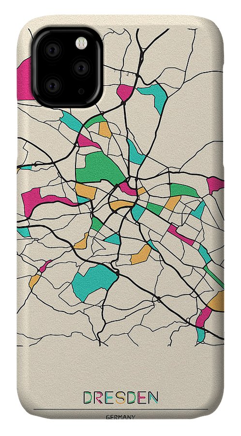 Dresden IPhone Case featuring the drawing Dresden, Germany City Map by Inspirowl Design