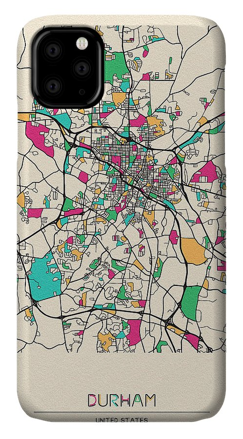 Durham IPhone Case featuring the drawing Durham, North Carolina City Map by Inspirowl Design