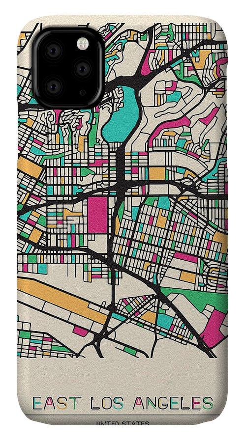 East Los Angeles IPhone Case featuring the drawing East Los Angeles, California City Map by Inspirowl Design