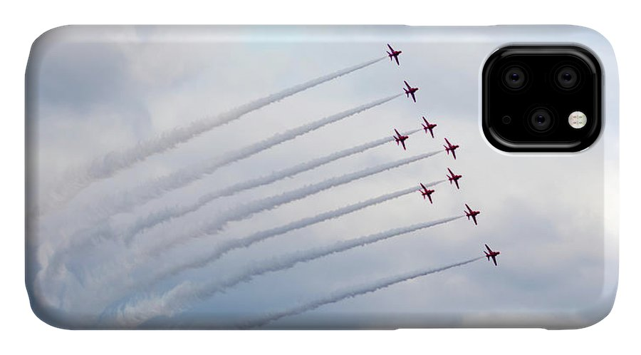 Red Arrows IPhone Case featuring the photograph Emerging From The Smoke Trail by Terri Waters