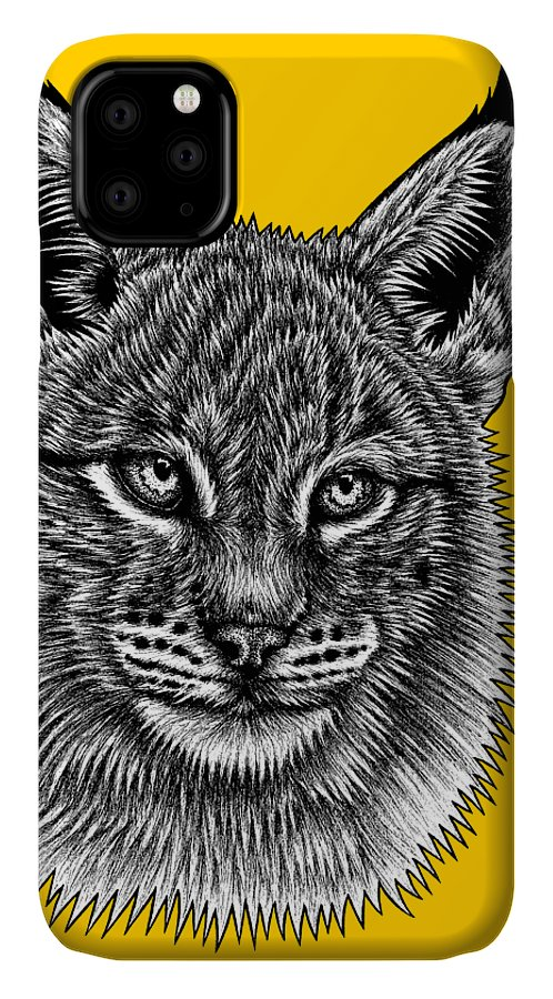Lynx IPhone Case featuring the drawing Eurasian Lynx kitten by Loren Dowding