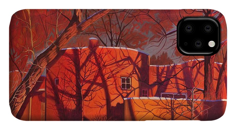 Taos IPhone Case featuring the painting Evening Shadows On A Round Taos House by Art West