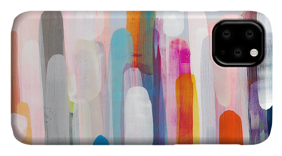 Abstract IPhone 11 Case featuring the painting Everyone's Invited by Claire Desjardins