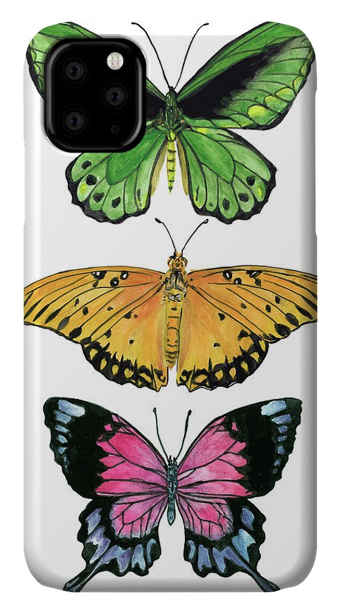 Animals & Nature+butterflies & Bees IPhone Case featuring the painting Falling From Iv by Melissa Wang
