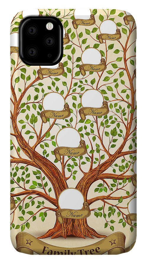 Template IPhone Case featuring the digital art Family Tree Template Vintage Vector by Yayasya